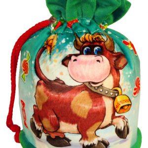 Новогодний подарок сумка из велюра «Бурёнка» 1000 граммов