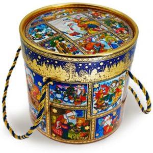 Новогодний подарок Туба с новогодними игрушками 1200 граммов