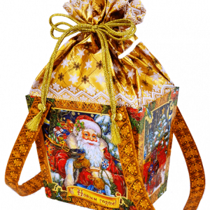 Новогодний подарок жесть «Резное лукошко» 1200 граммов
